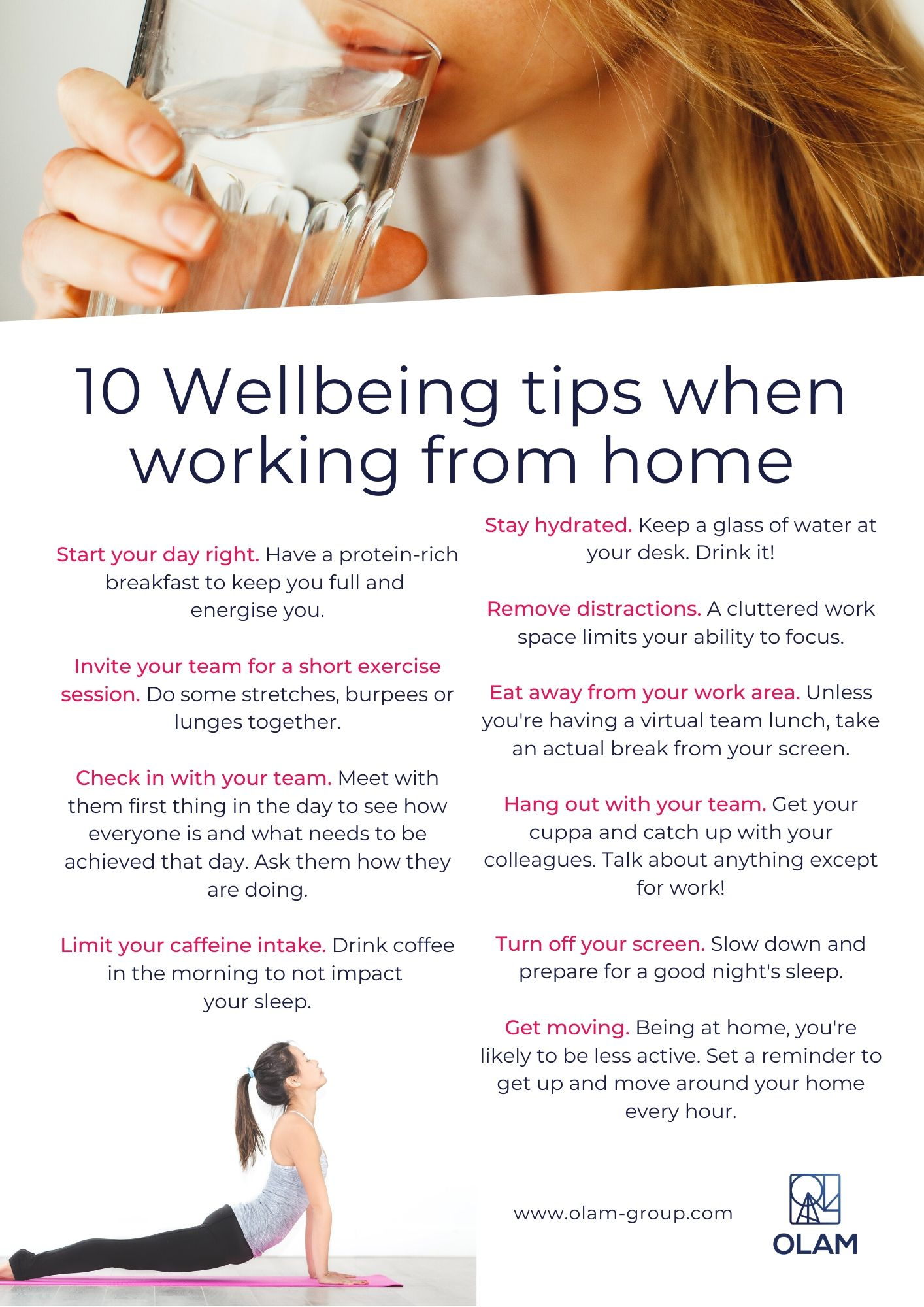 10 Wellbeing tips when working from home