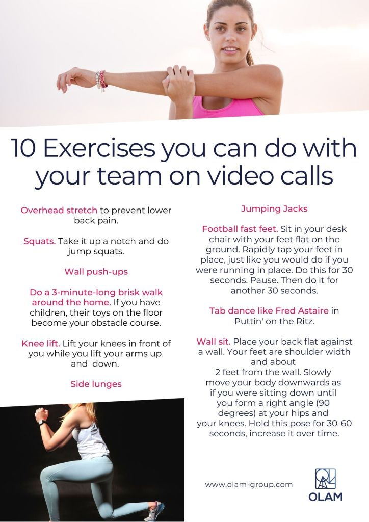 10 Exercises you can do with your team on video calls