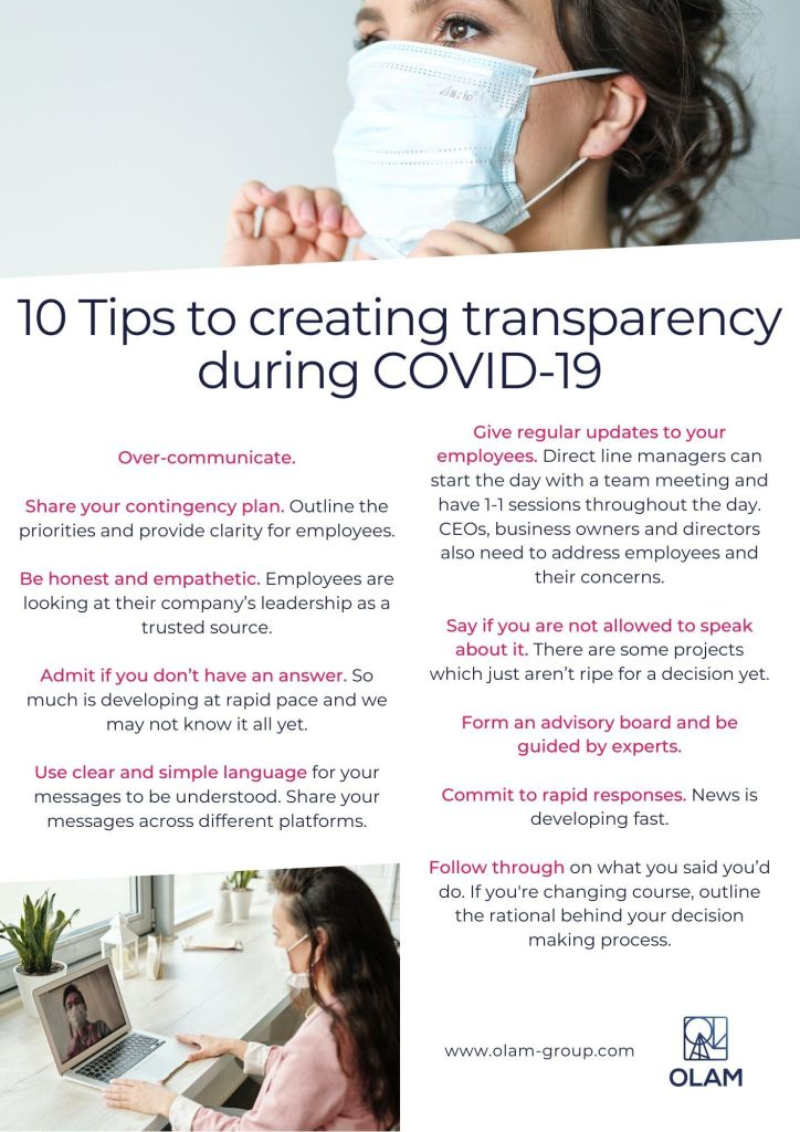 10 Tips to creating transparency during COVID-19