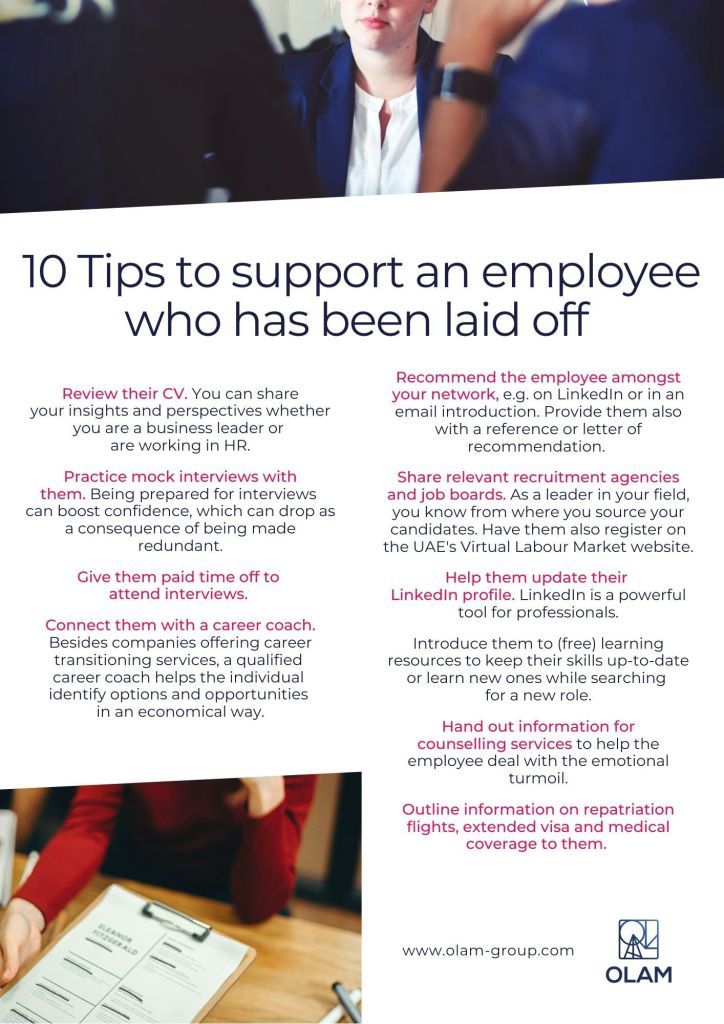 10 Tips to support an employee who has been laid off