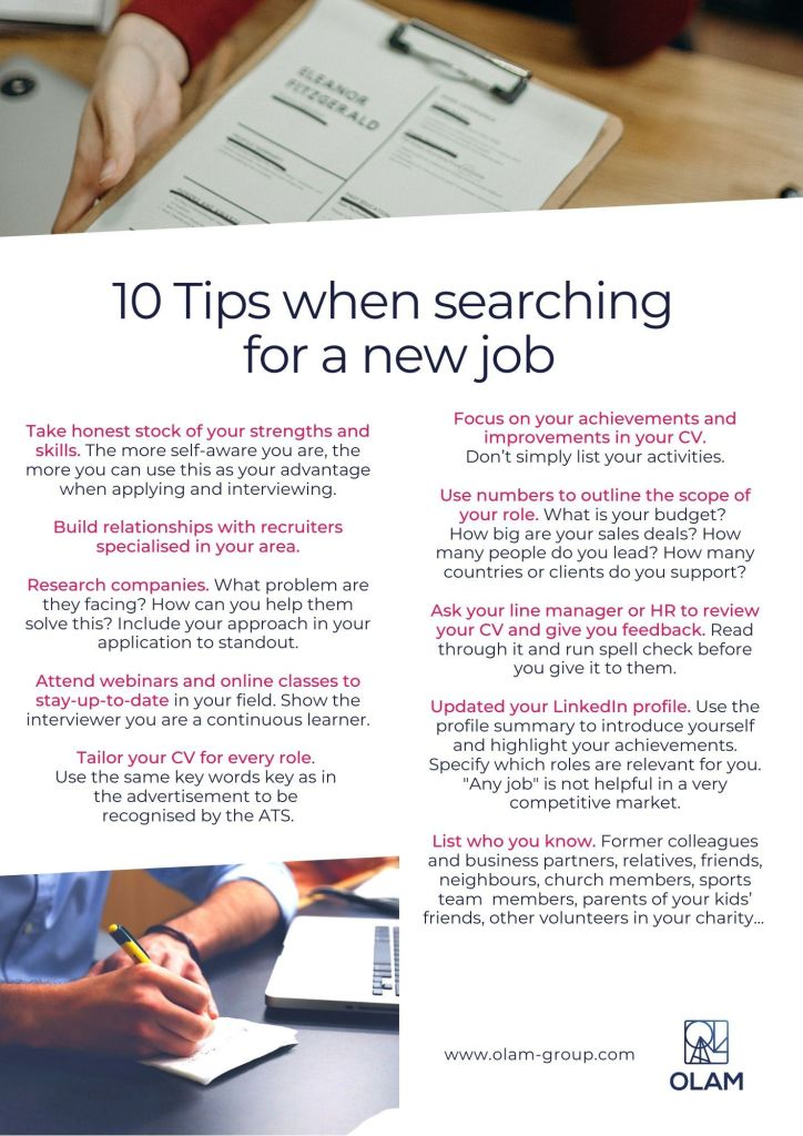 10 Tips when searching for a new job