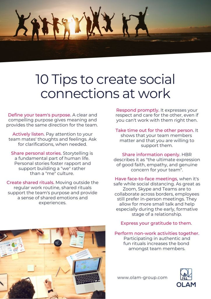 10 Tips to create social connections at work