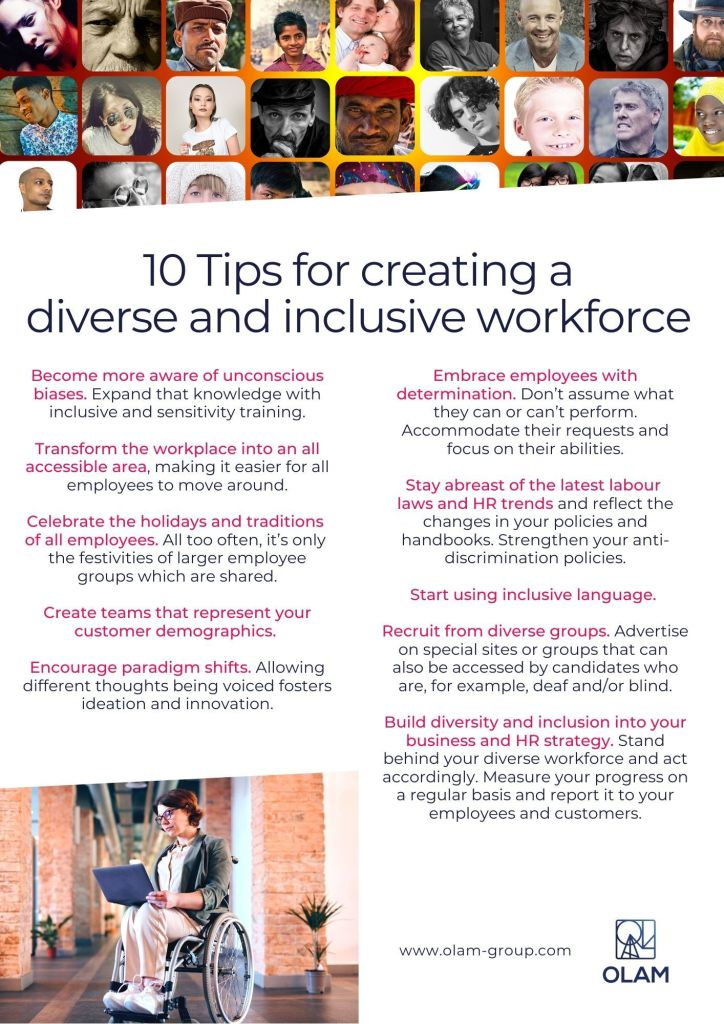 10 Tips for creating a diverse and inclusive workforce