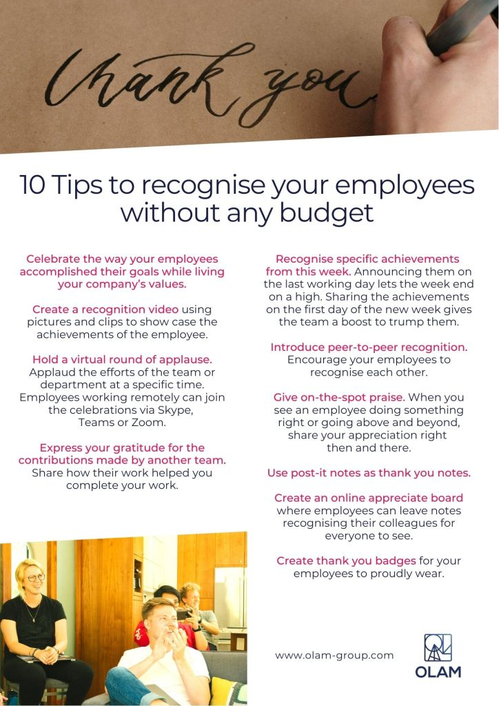 10 Tips to recognise your employees without any budget
